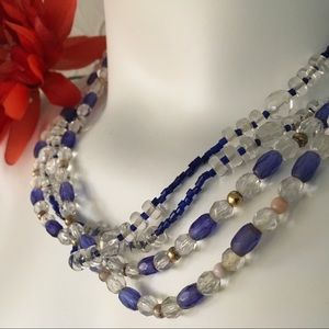 Beaded Multi Strand Necklace Blue Clear Vintage